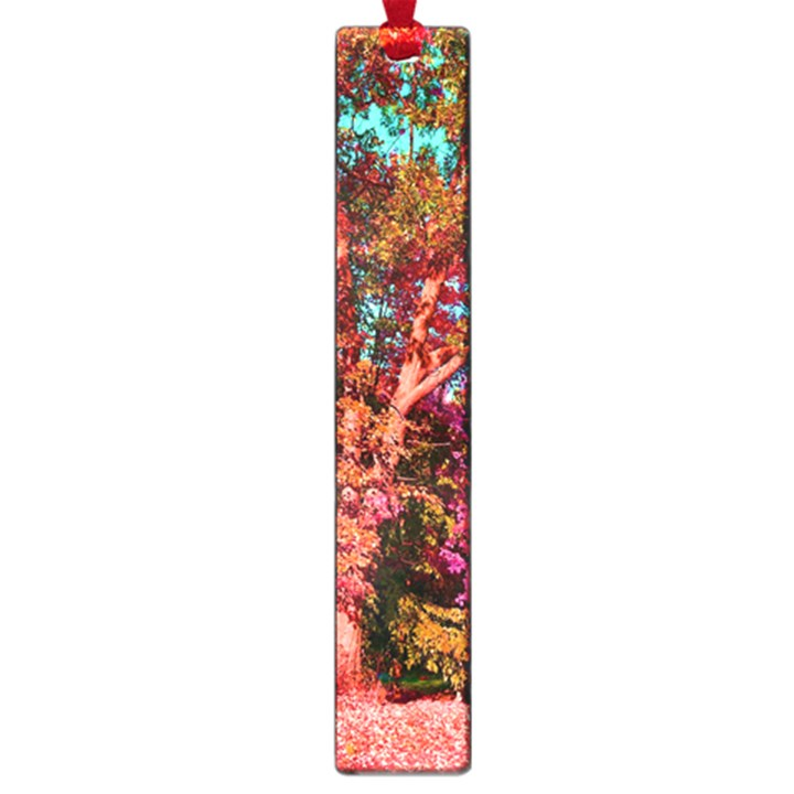Abstract Fall Trees Saturated With Orange Pink And Turquoise Large Book Marks