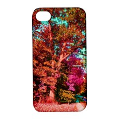 Abstract Fall Trees Saturated With Orange Pink And Turquoise Apple Iphone 4/4s Hardshell Case With Stand by Nexatart