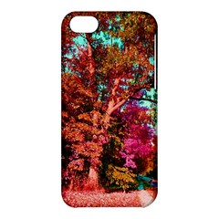 Abstract Fall Trees Saturated With Orange Pink And Turquoise Apple Iphone 5c Hardshell Case by Nexatart