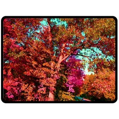 Abstract Fall Trees Saturated With Orange Pink And Turquoise Double Sided Fleece Blanket (large)  by Nexatart