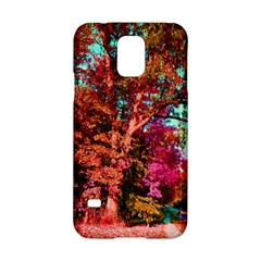 Abstract Fall Trees Saturated With Orange Pink And Turquoise Samsung Galaxy S5 Hardshell Case  by Nexatart