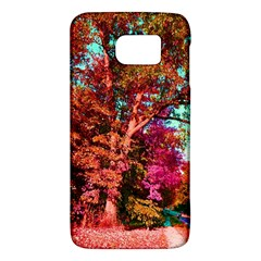 Abstract Fall Trees Saturated With Orange Pink And Turquoise Galaxy S6 by Nexatart