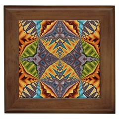 Kaleidoscopic Pattern Colorful Kaleidoscopic Pattern With Fabric Texture Framed Tiles by Nexatart