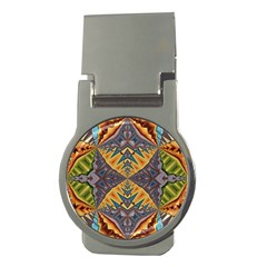 Kaleidoscopic Pattern Colorful Kaleidoscopic Pattern With Fabric Texture Money Clips (round)  by Nexatart
