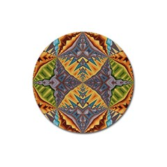 Kaleidoscopic Pattern Colorful Kaleidoscopic Pattern With Fabric Texture Magnet 3  (round) by Nexatart
