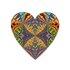Kaleidoscopic Pattern Colorful Kaleidoscopic Pattern With Fabric Texture Heart Magnet by Nexatart