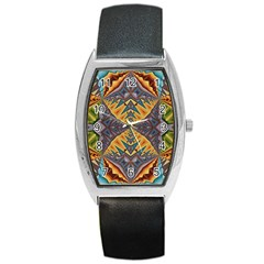 Kaleidoscopic Pattern Colorful Kaleidoscopic Pattern With Fabric Texture Barrel Style Metal Watch by Nexatart