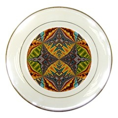 Kaleidoscopic Pattern Colorful Kaleidoscopic Pattern With Fabric Texture Porcelain Plates by Nexatart