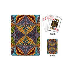 Kaleidoscopic Pattern Colorful Kaleidoscopic Pattern With Fabric Texture Playing Cards (mini)  by Nexatart