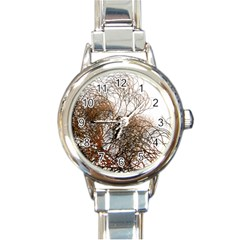 Digitally Painted Colourful Winter Branches Illustration Round Italian Charm Watch by Nexatart