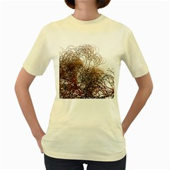 Digitally Painted Colourful Winter Branches Illustration Women s Yellow T Shirt