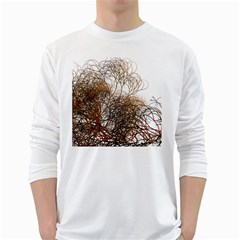 Digitally Painted Colourful Winter Branches Illustration White Long Sleeve T Shirts by Nexatart