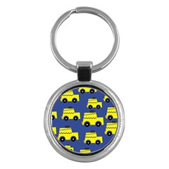 A Fun Cartoon Taxi Cab Tiling Pattern Key Chains (round)  by Nexatart