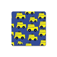 A Fun Cartoon Taxi Cab Tiling Pattern Square Magnet by Nexatart