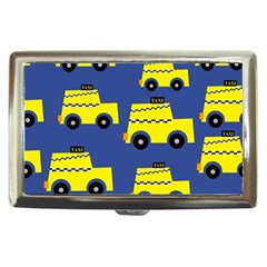 A Fun Cartoon Taxi Cab Tiling Pattern Cigarette Money Cases by Nexatart