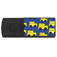 A Fun Cartoon Taxi Cab Tiling Pattern Usb Flash Drive Rectangular (4 Gb) by Nexatart