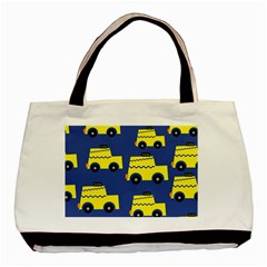 A Fun Cartoon Taxi Cab Tiling Pattern Basic Tote Bag