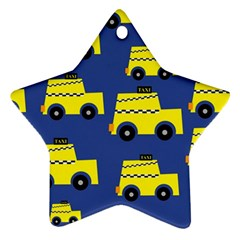 A Fun Cartoon Taxi Cab Tiling Pattern Star Ornament (two Sides)