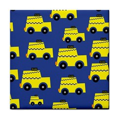 A Fun Cartoon Taxi Cab Tiling Pattern Face Towel by Nexatart
