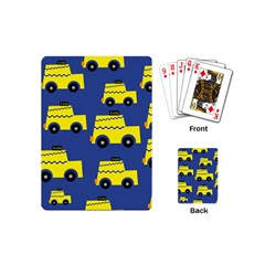 A Fun Cartoon Taxi Cab Tiling Pattern Playing Cards (mini)  by Nexatart