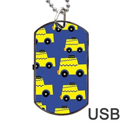A Fun Cartoon Taxi Cab Tiling Pattern Dog Tag Usb Flash (one Side) by Nexatart