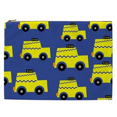A Fun Cartoon Taxi Cab Tiling Pattern Cosmetic Bag (xxl)  by Nexatart