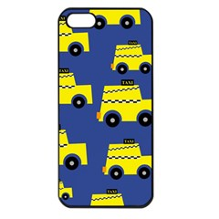 A Fun Cartoon Taxi Cab Tiling Pattern Apple Iphone 5 Seamless Case (black) by Nexatart