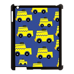 A Fun Cartoon Taxi Cab Tiling Pattern Apple Ipad 3/4 Case (black)