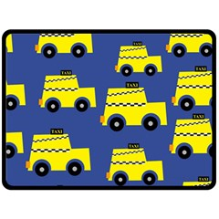 A Fun Cartoon Taxi Cab Tiling Pattern Double Sided Fleece Blanket (large)  by Nexatart