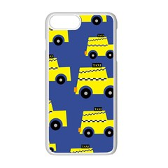 A Fun Cartoon Taxi Cab Tiling Pattern Apple Iphone 7 Plus White Seamless Case by Nexatart