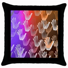 Clipart Hands Background Pattern Throw Pillow Case (black) by Nexatart