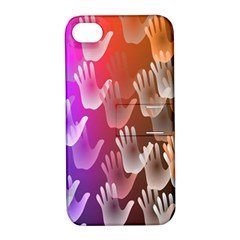 Clipart Hands Background Pattern Apple Iphone 4/4s Hardshell Case With Stand by Nexatart