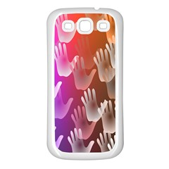 Clipart Hands Background Pattern Samsung Galaxy S3 Back Case (white) by Nexatart