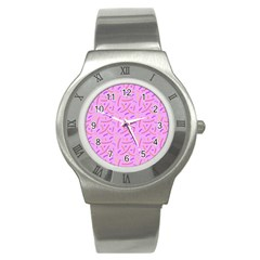 Confetti Background Pattern Pink Purple Yellow On Pink Background Stainless Steel Watch