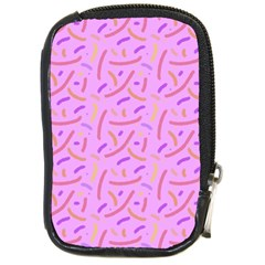 Confetti Background Pattern Pink Purple Yellow On Pink Background Compact Camera Cases by Nexatart