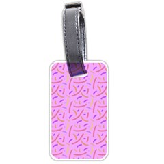 Confetti Background Pattern Pink Purple Yellow On Pink Background Luggage Tags (one Side)  by Nexatart
