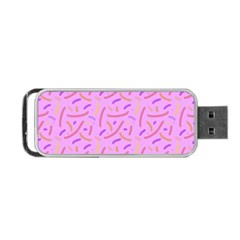 Confetti Background Pattern Pink Purple Yellow On Pink Background Portable Usb Flash (one Side) by Nexatart
