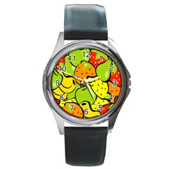 Digitally Created Funky Fruit Wallpaper Round Metal Watch by Nexatart