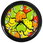 Digitally Created Funky Fruit Wallpaper Wall Clocks (Black) Front