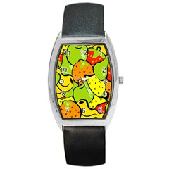 Digitally Created Funky Fruit Wallpaper Barrel Style Metal Watch by Nexatart