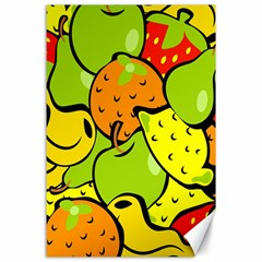 Digitally Created Funky Fruit Wallpaper Canvas 24  X 36  by Nexatart