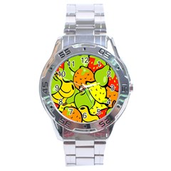 Digitally Created Funky Fruit Wallpaper Stainless Steel Analogue Watch by Nexatart