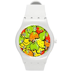 Digitally Created Funky Fruit Wallpaper Round Plastic Sport Watch (m) by Nexatart
