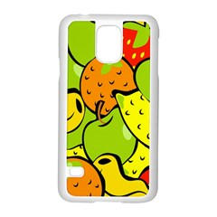 Digitally Created Funky Fruit Wallpaper Samsung Galaxy S5 Case (white) by Nexatart