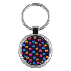 A Tilable Birthday Cake Party Background Key Chains (round)  by Nexatart