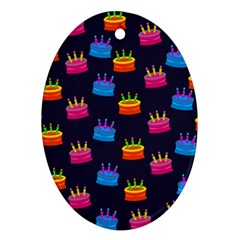 A Tilable Birthday Cake Party Background Oval Ornament (two Sides) by Nexatart