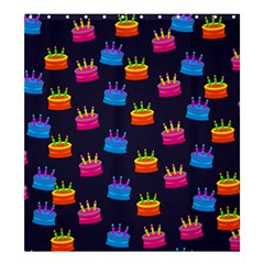 A Tilable Birthday Cake Party Background Shower Curtain 66  X 72  (large)  by Nexatart
