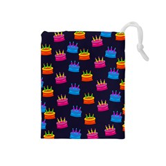 A Tilable Birthday Cake Party Background Drawstring Pouches (medium)  by Nexatart