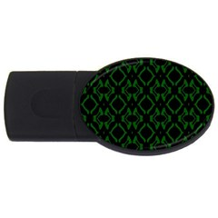 Green Black Pattern Abstract Usb Flash Drive Oval (2 Gb) by Nexatart