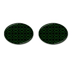 Green Black Pattern Abstract Cufflinks (oval)